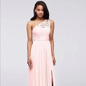 David's Bridal Lace One Shoulder Bridesmaid Dress